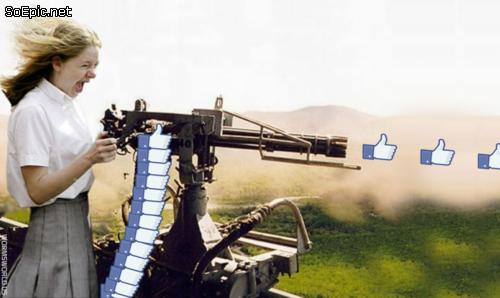 Machine gun facebook like