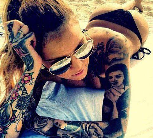 Tattooed girl in bikini