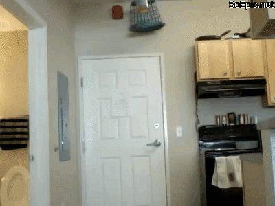 door bucket and balls hit prank