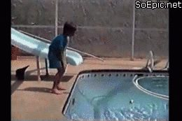 cat pushes this boy into the pool