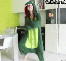 girl dancing in dragon kigurumi
