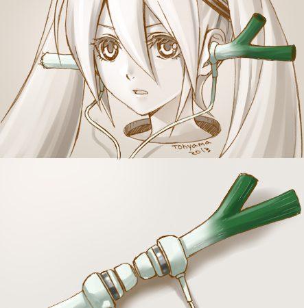 Hatsune Miku with leek earphones