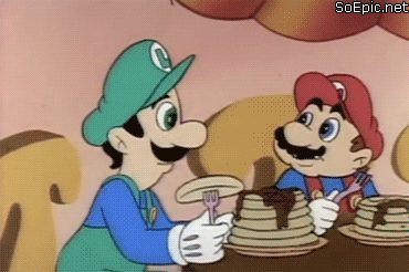 Luigi eats pancake and flies away