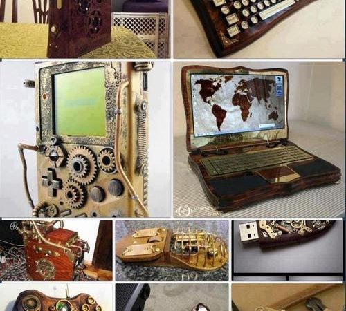modern technology devices in steampunk version