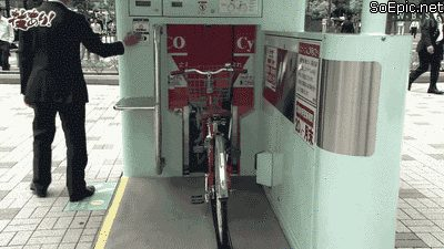 Automatic bicycle storage in Japan